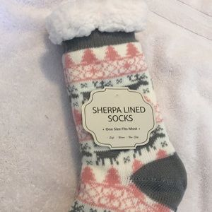 Other - NWT Sherpa Lined socks with floor grips on ea foot